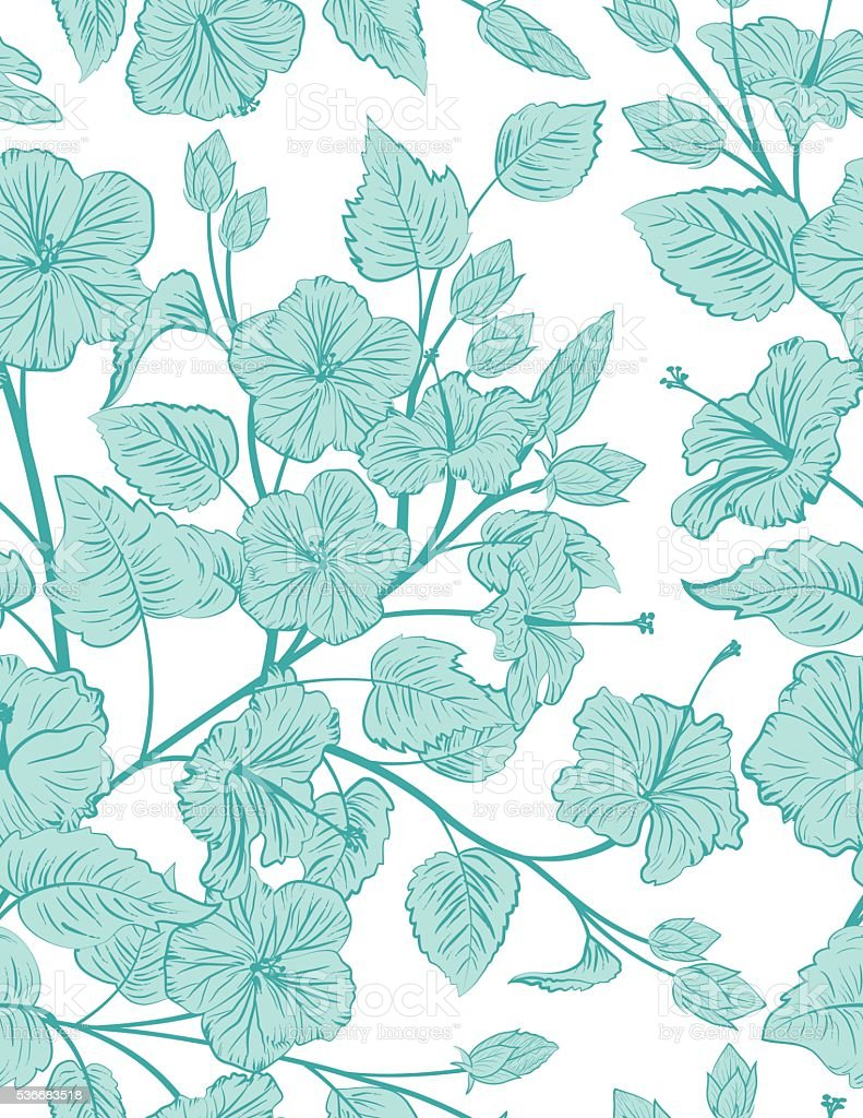 Tropical Hibiscus Seamless Pattern Background vector art illustration