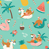 istock Tropical Hot Christmas. Seamless pattern with cute funny sexy Santa Claus with unicorn dinosaurand, flamingo inflatable ring. Vector illustration. 1189184385