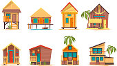 Tropical houses. Bungalow beach buildings island home for summer vacation vector flat pictures collection. Illustration of bungalow building for tourism, house on coast line, paradise home