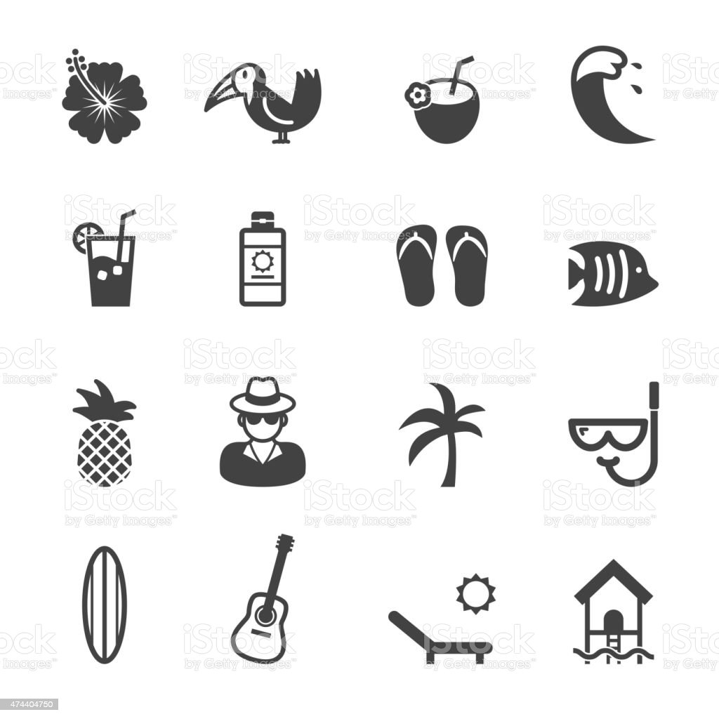tropical icons vector art illustration