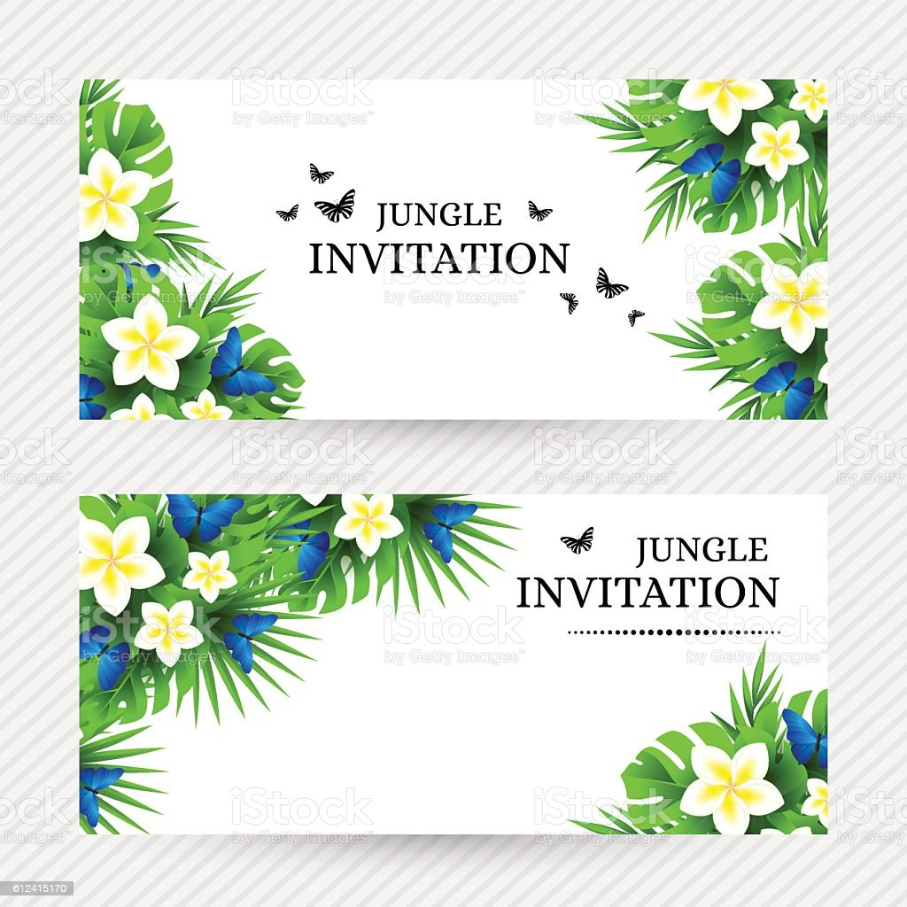 tropical invitation background with exotic flower and blue butte