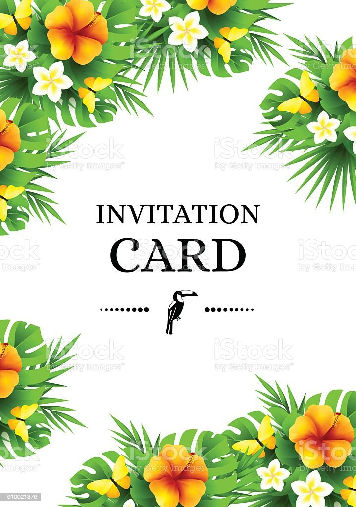 tropical invitation background with exotic flower and yellow but