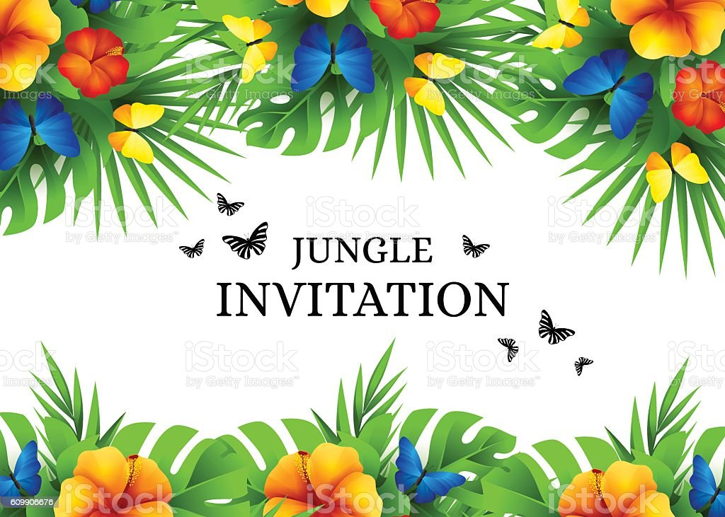 Tropical invitation background with exotic flowers and butterfli tropical invitation background with exotic flowers and butterfli royalty free tropical invitation background with exotic stopboris Choice Image