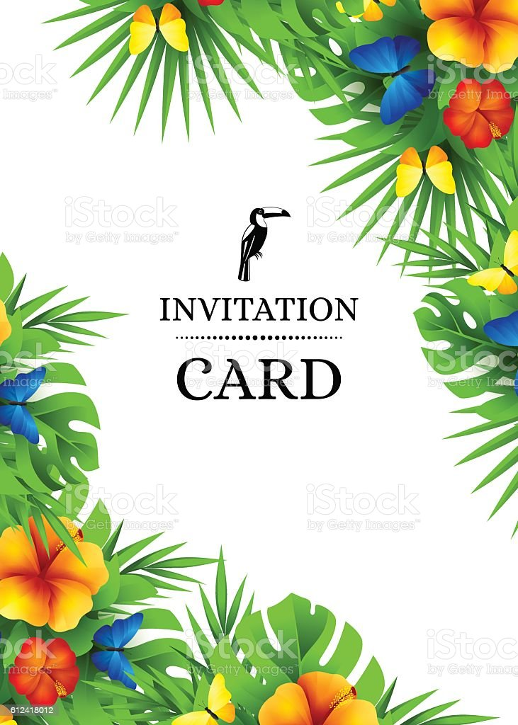 Tropical Invitation Background With Exotic Flowers And ...