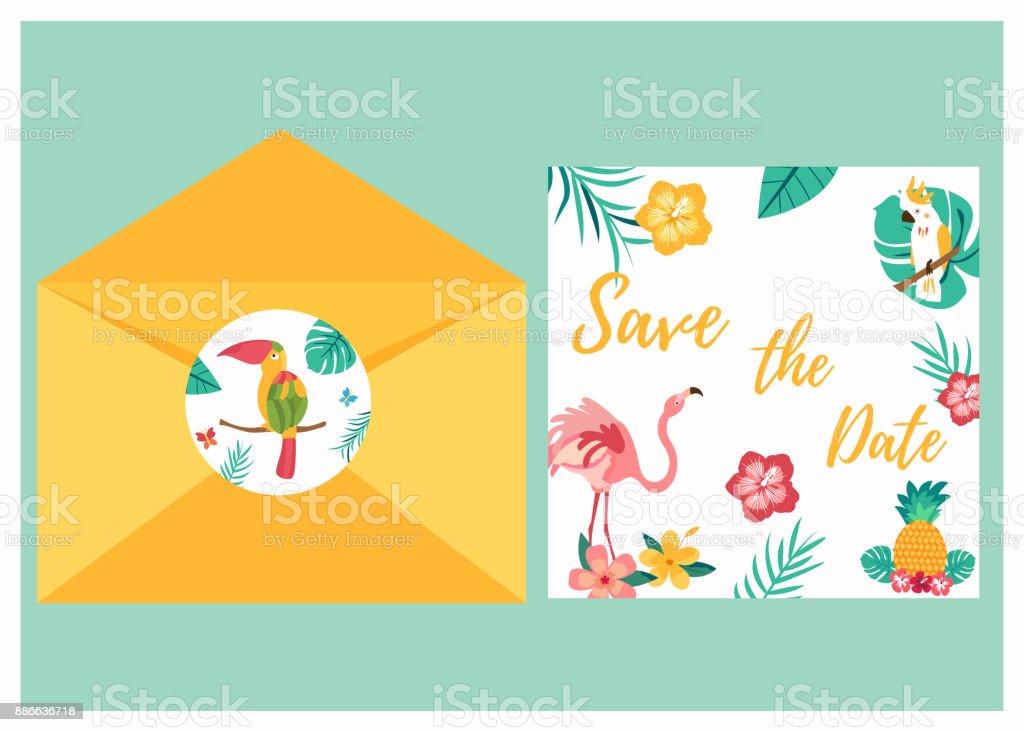Carte d'invitation tropicale avec vif oiseaux - Illustration vectorielle