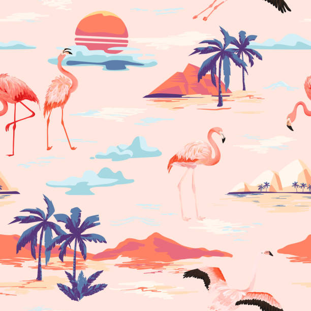 Tropical Island and Flamingo seamless vector summer pattern with tropic palm trees. Vintage background for wallpapers, web page, texture, textile. Tropical Island and Flamingo seamless vector summer pattern with tropic palm trees. Vintage background for wallpapers, web page, texture, textile. beach designs stock illustrations