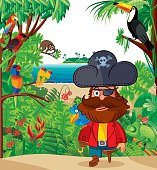 Tropical island and Pirate captain