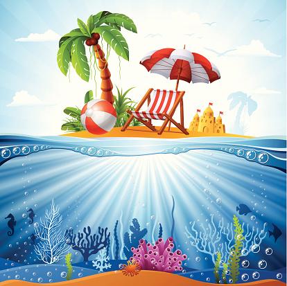 Tropical Island and Underwater Scene