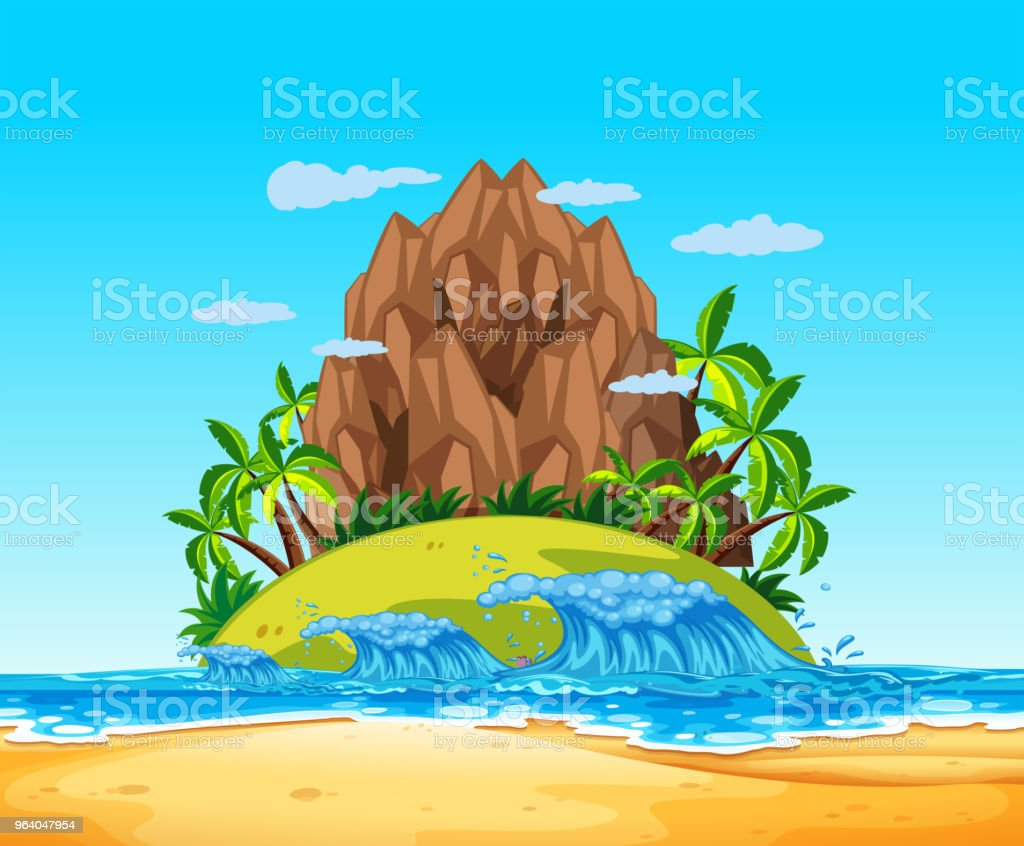 A Tropical Island and Wave - Royalty-free Abstract stock vector