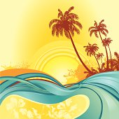 Vector. Tropical island  background. Only gradient used.