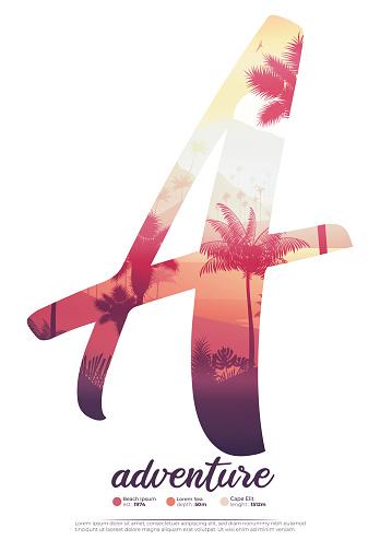 Tropical island coast sunset poster