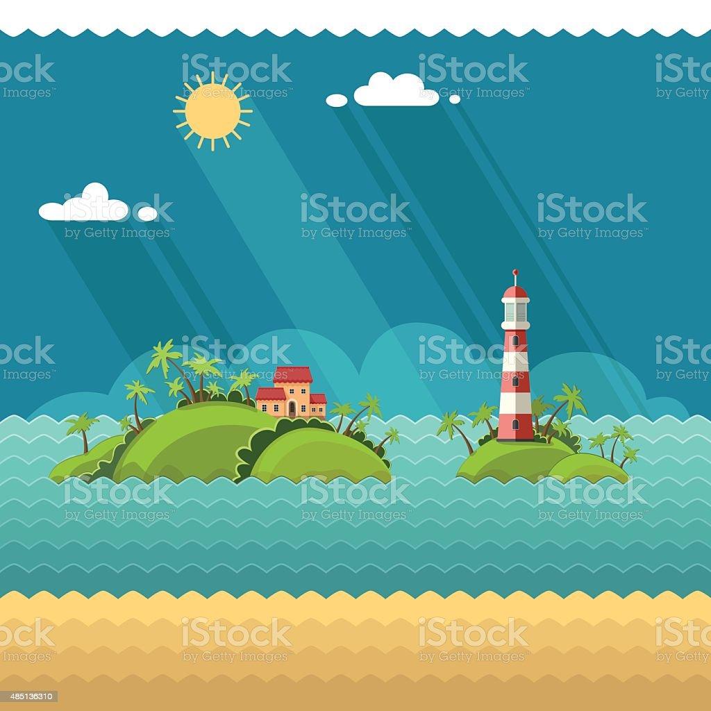 tropical island in the ocean. Lighthouse on the coastal line vector art illustration