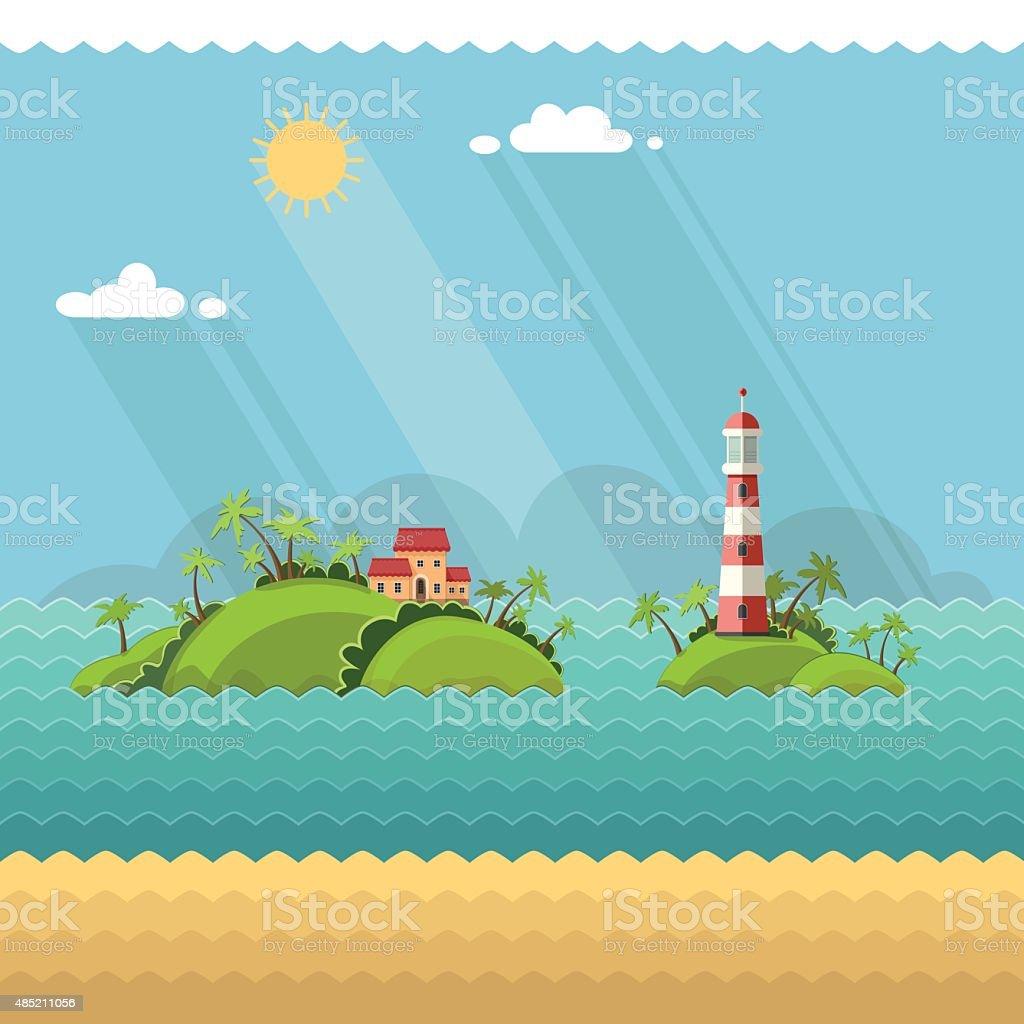 tropical island in the ocean. Lighthouse on the coastal line. vector art illustration
