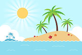 Summer Landscape. Tropical Island in the Ocean. Flat Design Style.