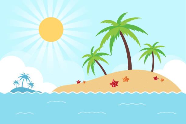 bildbanksillustrationer, clip art samt tecknat material och ikoner med tropisk ö i havet - ö