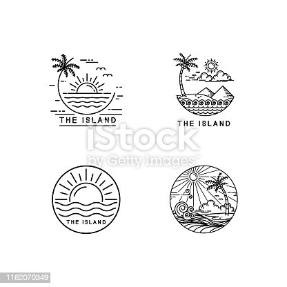 summer on tropical island, mono line style design