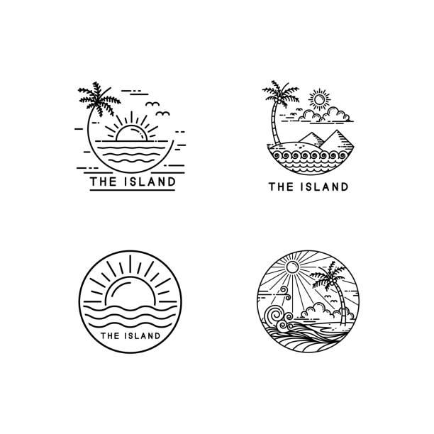 logo tropikalnej wyspy - zachód słońca stock illustrations
