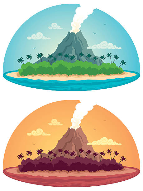 tropical island on white - vulkane stock-grafiken, -clipart, -cartoons und -symbole