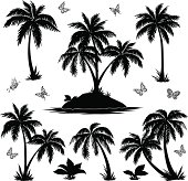 Tropical island, palms and butterflies silhouettes