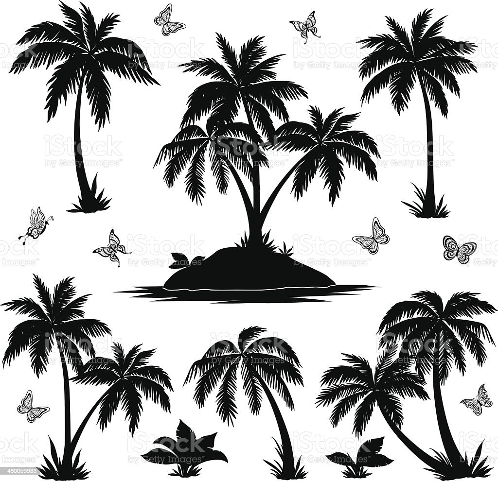 Tropical island, palms and butterflies silhouettes vector art illustration