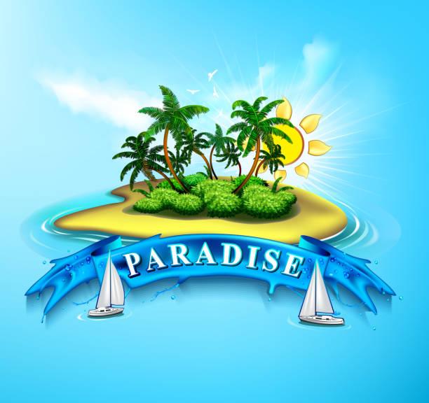 bildbanksillustrationer, clip art samt tecknat material och ikoner med tropical island paradise - ö