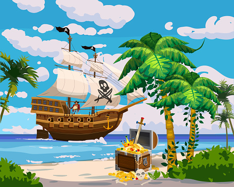 Tropical Island Pirate ship under sail in ocean, treasure cheast, tropical, palms. Sea landscape coast, beach, sand, adventure, game. Vector illustration