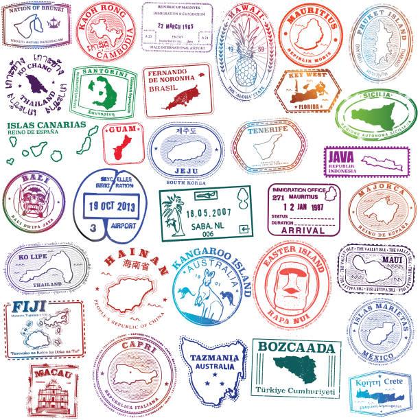 illustrazioni stock, clip art, cartoni animati e icone di tendenza di tropical island stamps exotic - capri