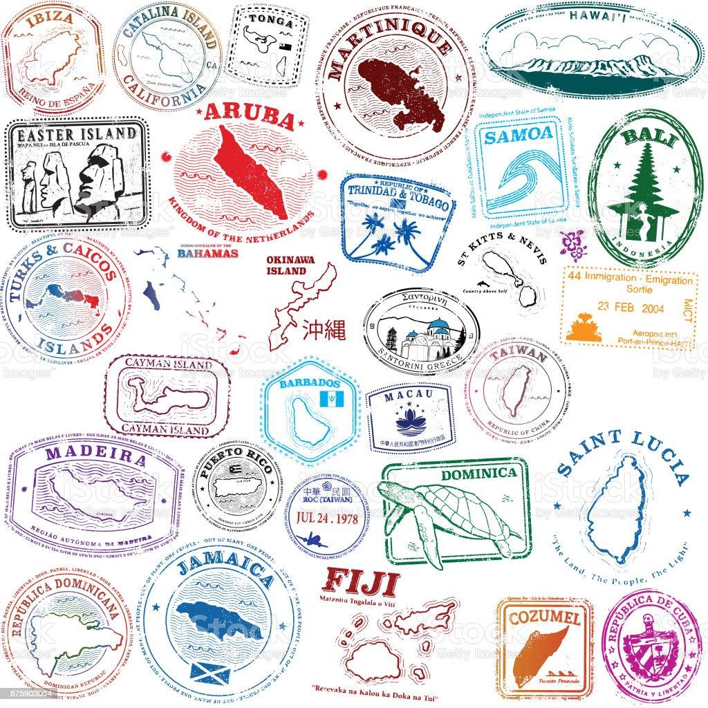Tropical Island Stamps vector art illustration