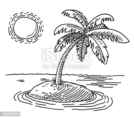 istock Tropical Island Sunshine Drawing 495305219