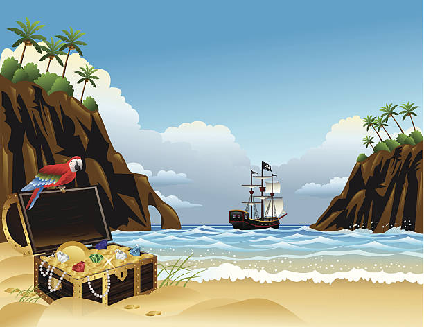 Tropical Island Treasure Treasure chest with gold and jewels, pirate ship, parrot and tropical trees and plants pirate ship stock illustrations