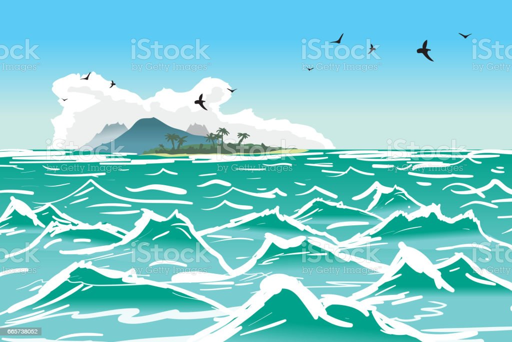 Tropical island wave. Sea summer landscape vector art illustration