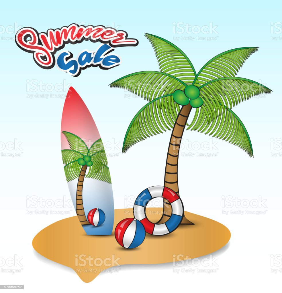 tropical island with coconut trees surf board swim rings and beach
