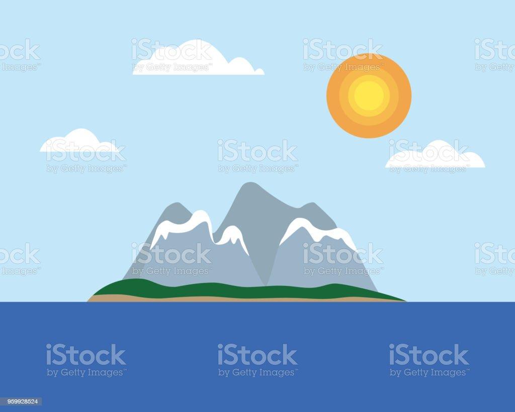 熱帯の島と太陽と雲 フラット デ...