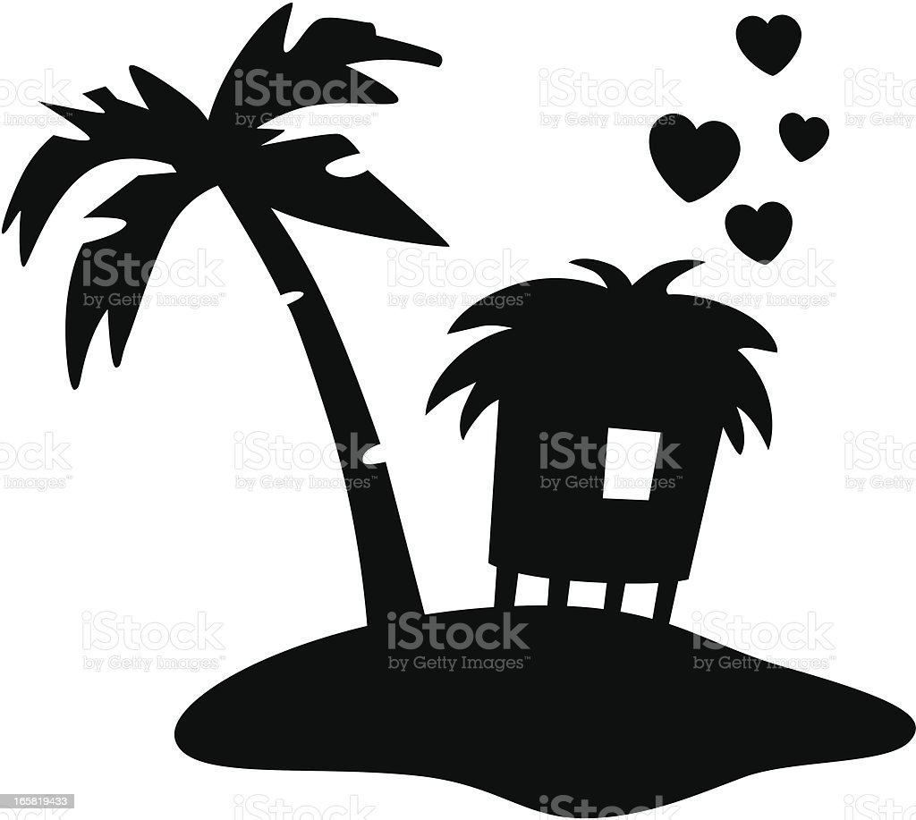 Tropical Island With Hut royalty-free stock vector art