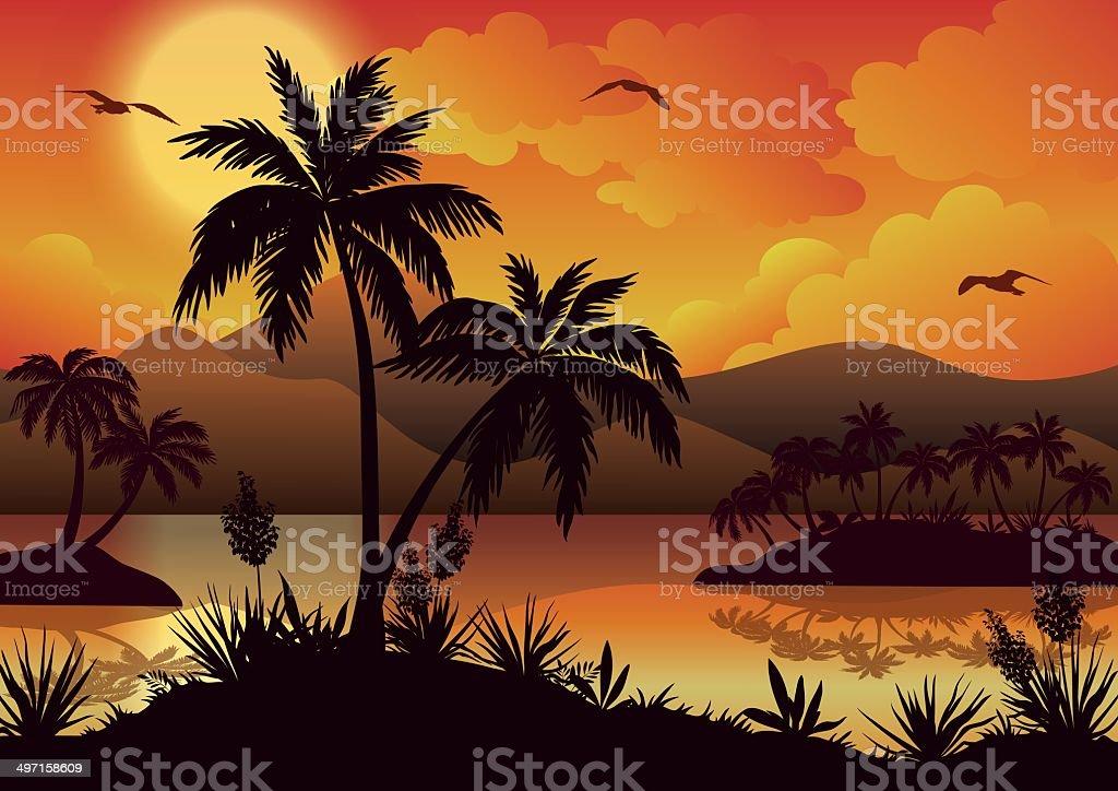 Iles Tropicales De Palmiers Des Fleurs Et Des Oiseaux Cliparts