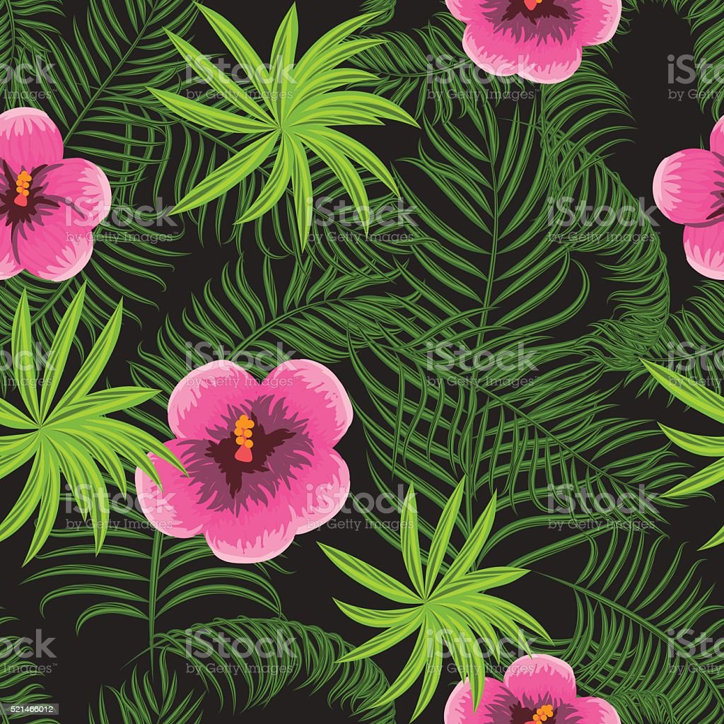 Tropical Jungle Palm Leaves Hibiscus Pattern Stock Vector Art & More ...