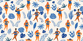 Tropical jungle pattern with girls in summer swimsuits. Body positive. Vector seamless texture.