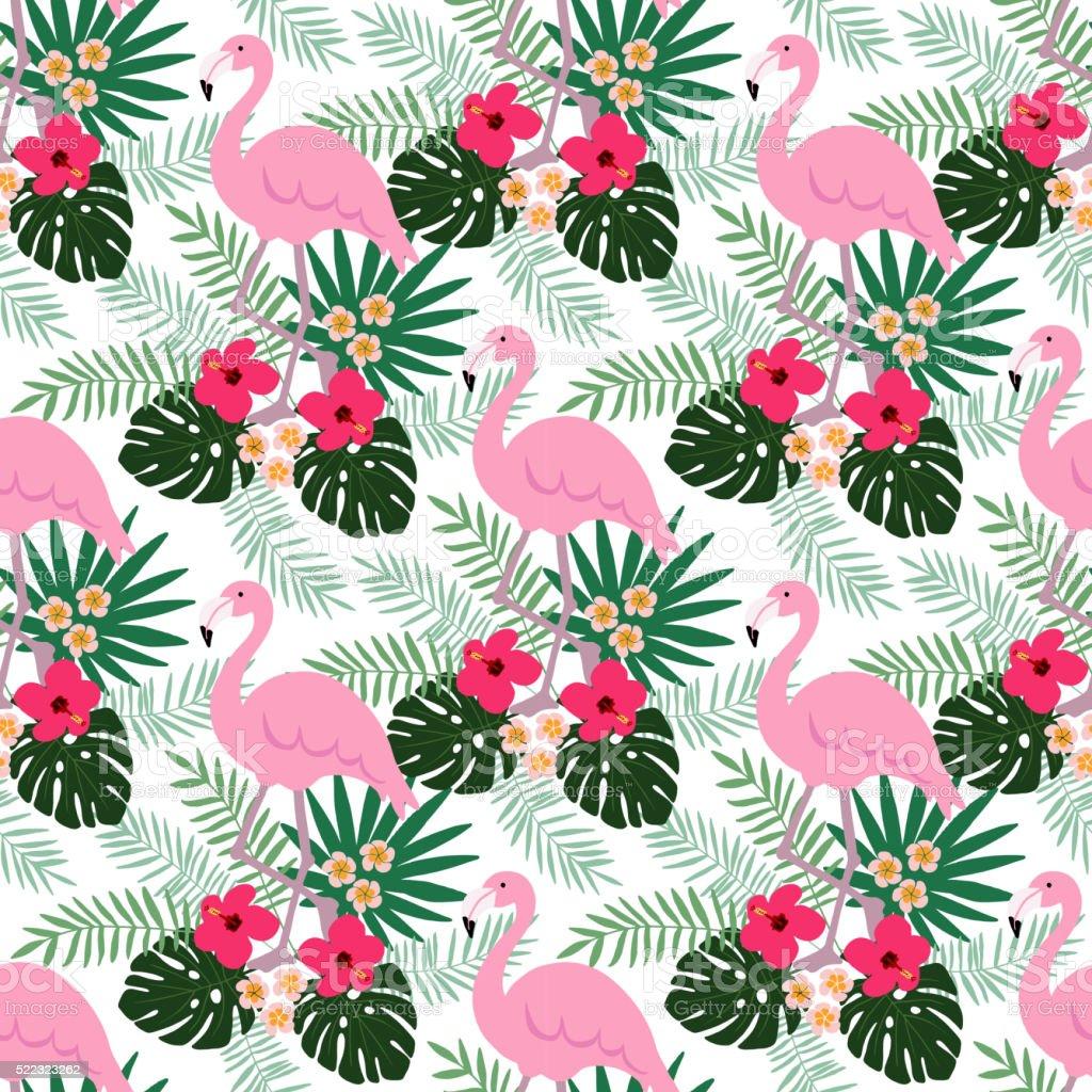 Selva Tropical patrón continuo con Flamingo pájaro, hibisco, hojas de palma - ilustración de arte vectorial