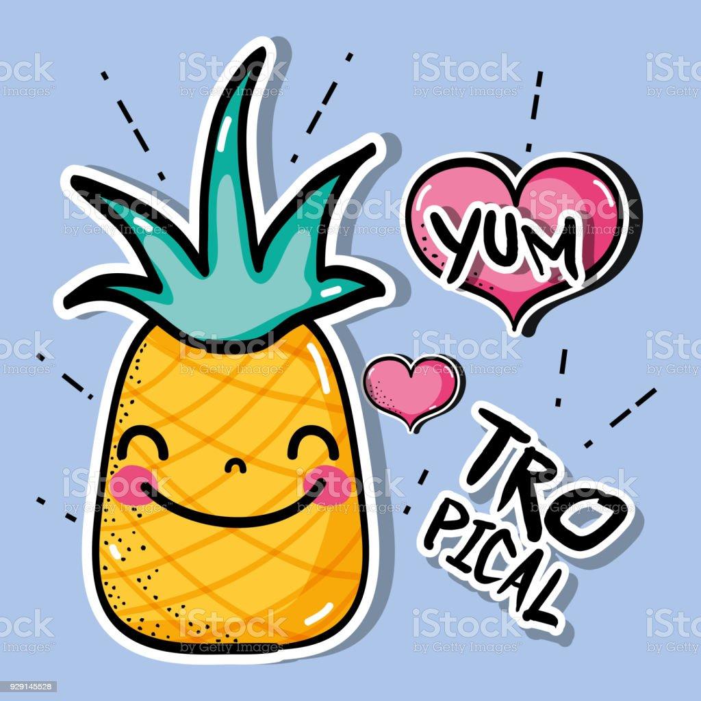 Tropical Kawaii Pineapple Patches Fruit Design Immagini Vettoriali