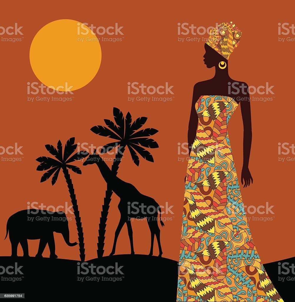 Tropical landscape. Beautiful black woman. - ilustração de arte em vetor