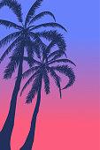 Tropical landscape Sea landscape Summer background. Palm trees silhouette. Vector illustration.