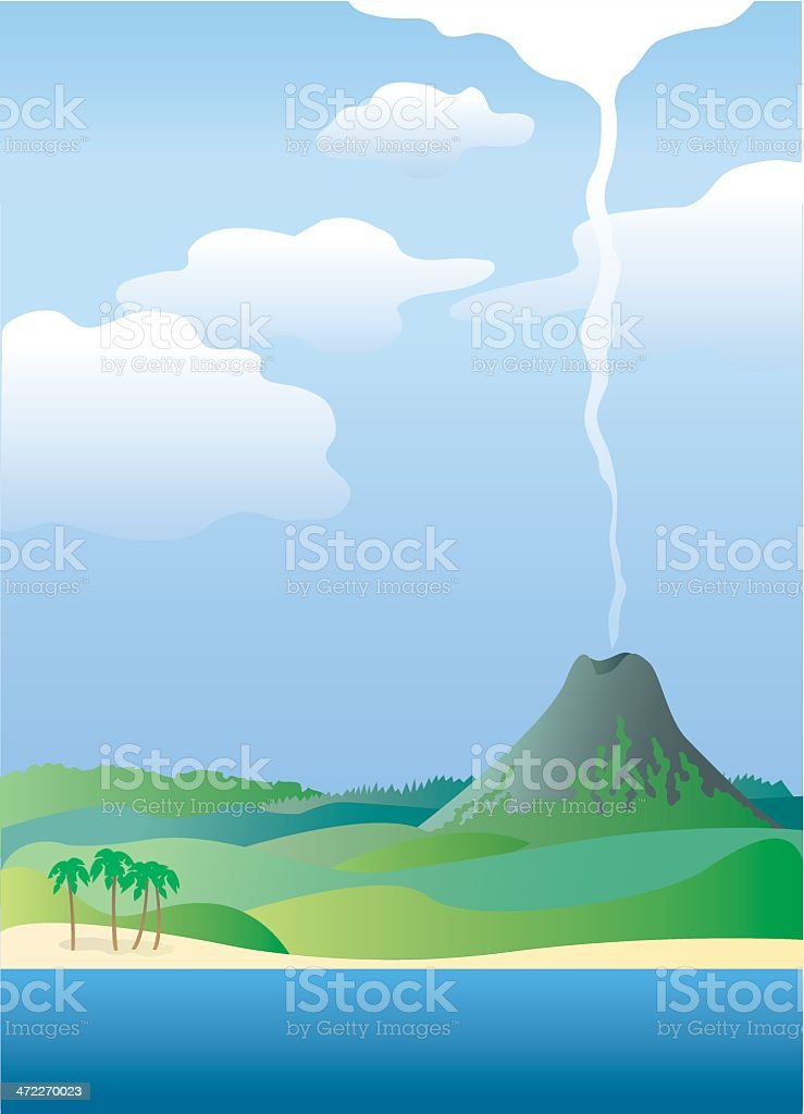 Tropical landscape vector art illustration