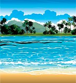 Tropical landscape with blue sea and palms. Nature vector.