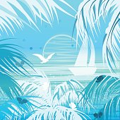 Tropical landscape. Palms, sun, yacht, flying seagull and butterflies. Summer card/poster