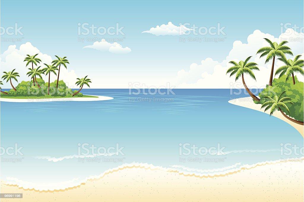 Tropical landscape vector art illustration