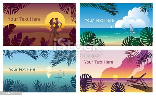 Tropical landscape with a sunset on the sea and a sun chair. Template for a horizontal banner.