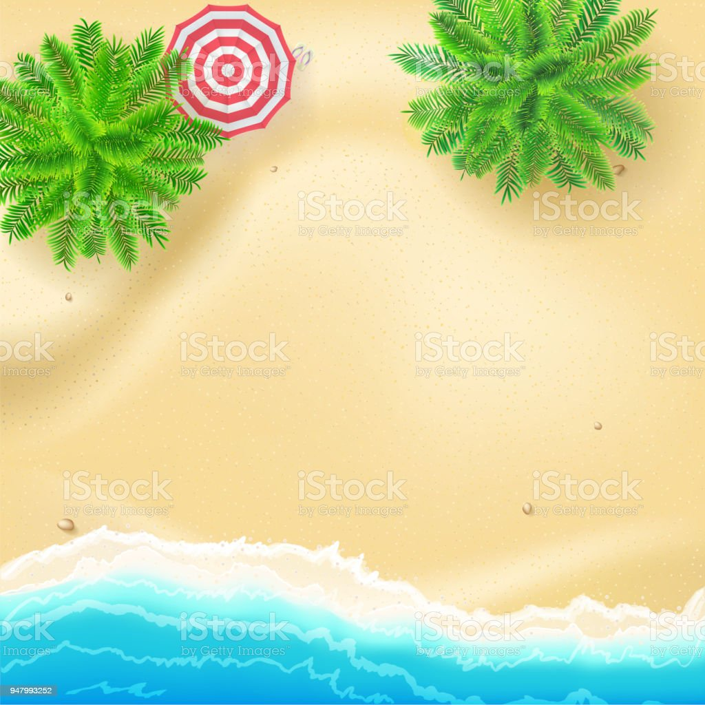 Tropical Landscape With Blue Ocean And Gold Sand Top View Poster