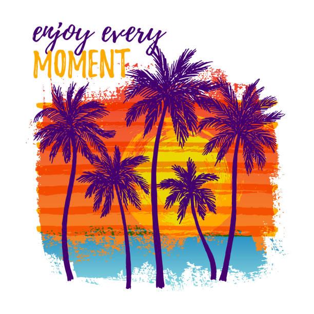bildbanksillustrationer, clip art samt tecknat material och ikoner med tropiskt landskap med palmer - delstat hawaii