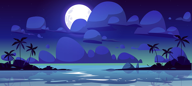 Tropical landscape with sea bay at night