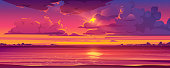 Sea sunset. Tropical landscape of ocean with sky, clouds and water in red light of evening sun. Vector cartoon summer seascape with city lights and coastline silhouette on horizon